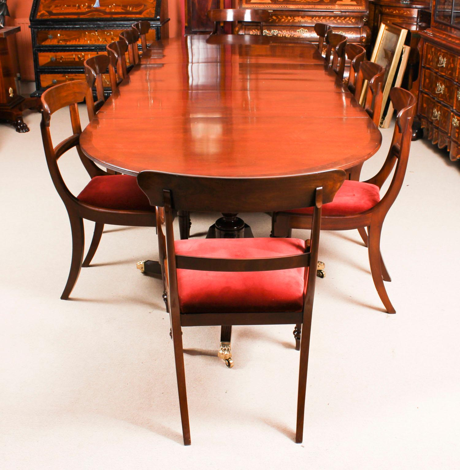 Antique Regency Revival Mahogany Dining Table And 12 Chairs 19th Century