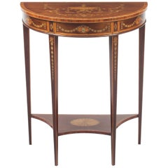 Antique Regency Revival Marquetry Console Table, 19th Century