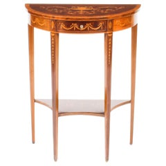 Antique Regency Revival Marquetry Demilune Console Table, 19th Century