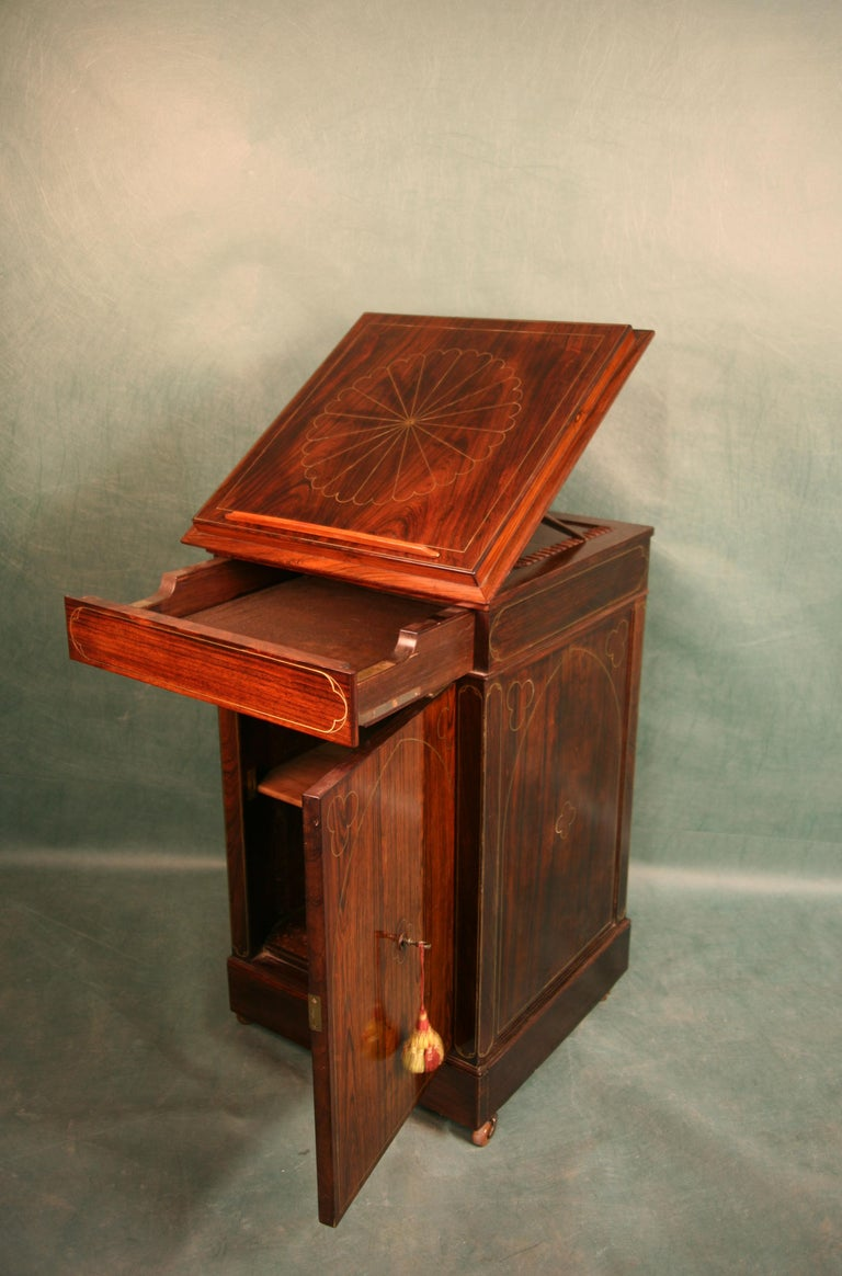 British Antique Regency Rosewood Music Cabinet, circa 1820 For Sale