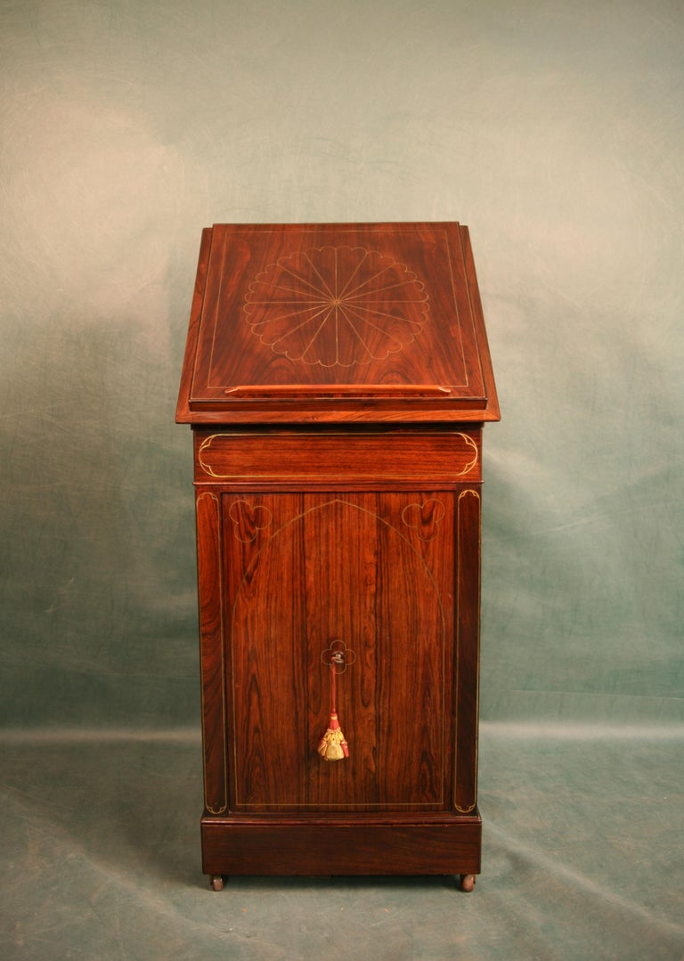 Early 19th Century Antique Regency Rosewood Music Cabinet, circa 1820 For Sale