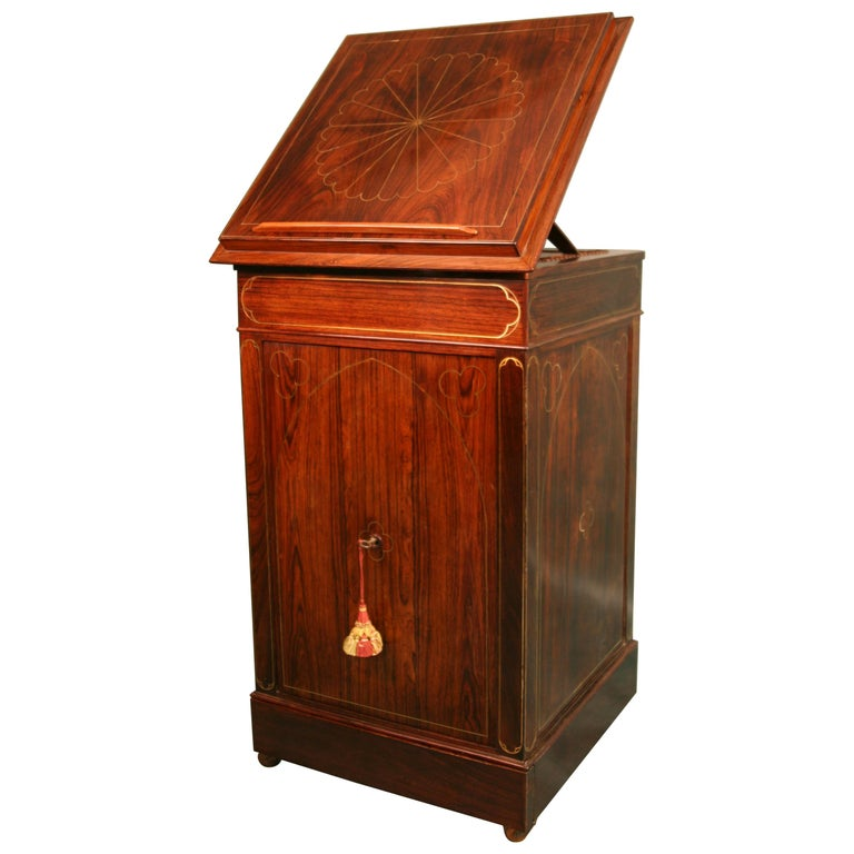 Antique Regency Rosewood Music Cabinet, circa 1820 For Sale