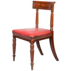 Antique Regency Royal Desk Chair in Burgundy Leather