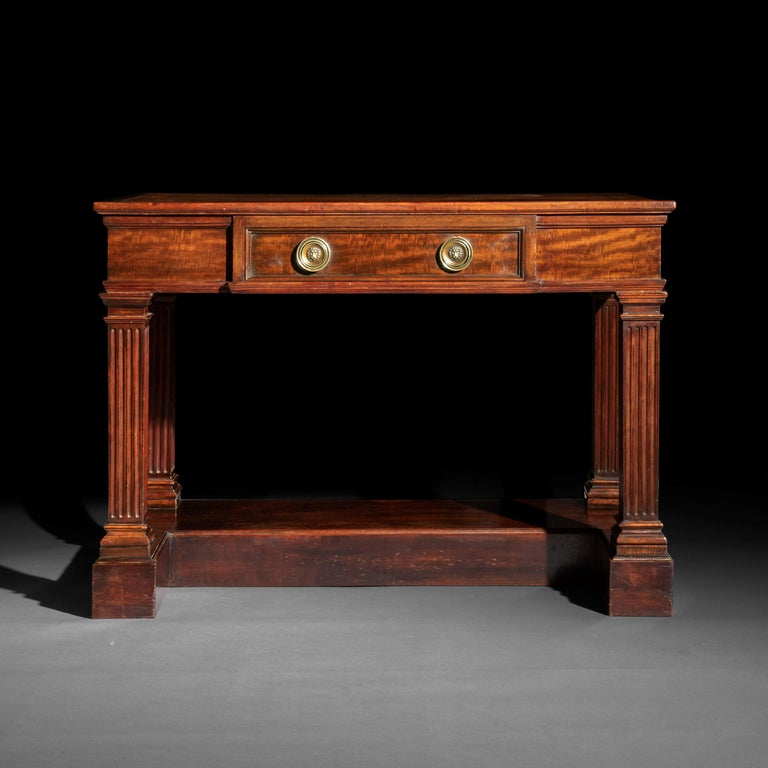 Patinated Antique Regency Side Table or Writing Table of Architectural Form, circa 1840