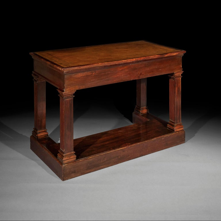 Antique Regency Side Table or Writing Table of Architectural Form, circa 1840 2