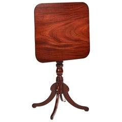 Antique Regency Square Mahogany Tilt-Top Table
