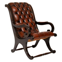 Antique Regency Style Leather and Mahogany Armchair