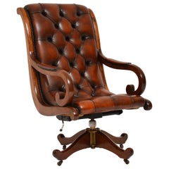 Antique Regency Style Leather and Mahogany Swivel Desk Chair