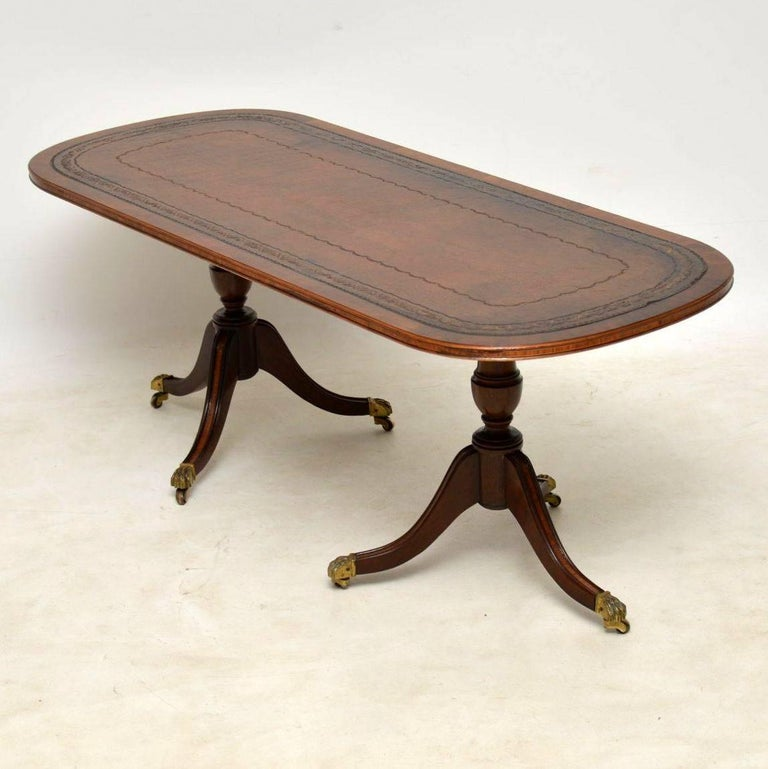 Antique Regency Style Leather Top Mahogany Coffee Table At 1stdibs