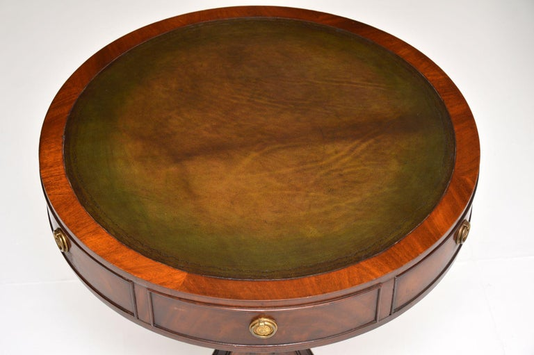 English Antique Regency Style Mahogany and Leather Drum Table For Sale