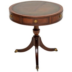 Antique Regency Style Mahogany and Leather Drum Table