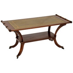 Antique Regency Style Mahogany Leather Top Coffee Table