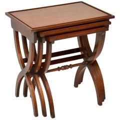 Antique Regency Style Mahogany Nest of Three Tables