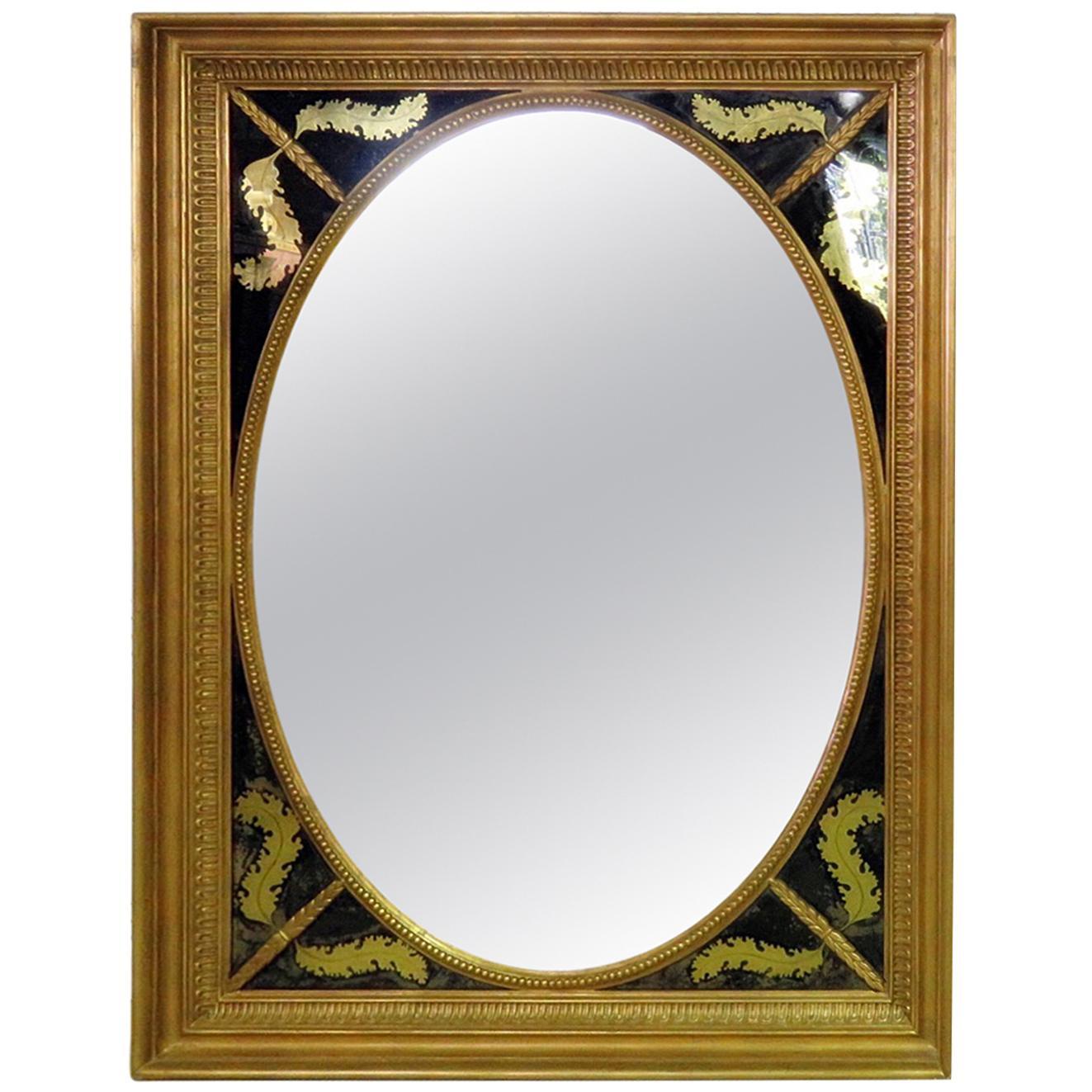 Antique French Gold Verre Eglomise Louis XVI Style Mirror