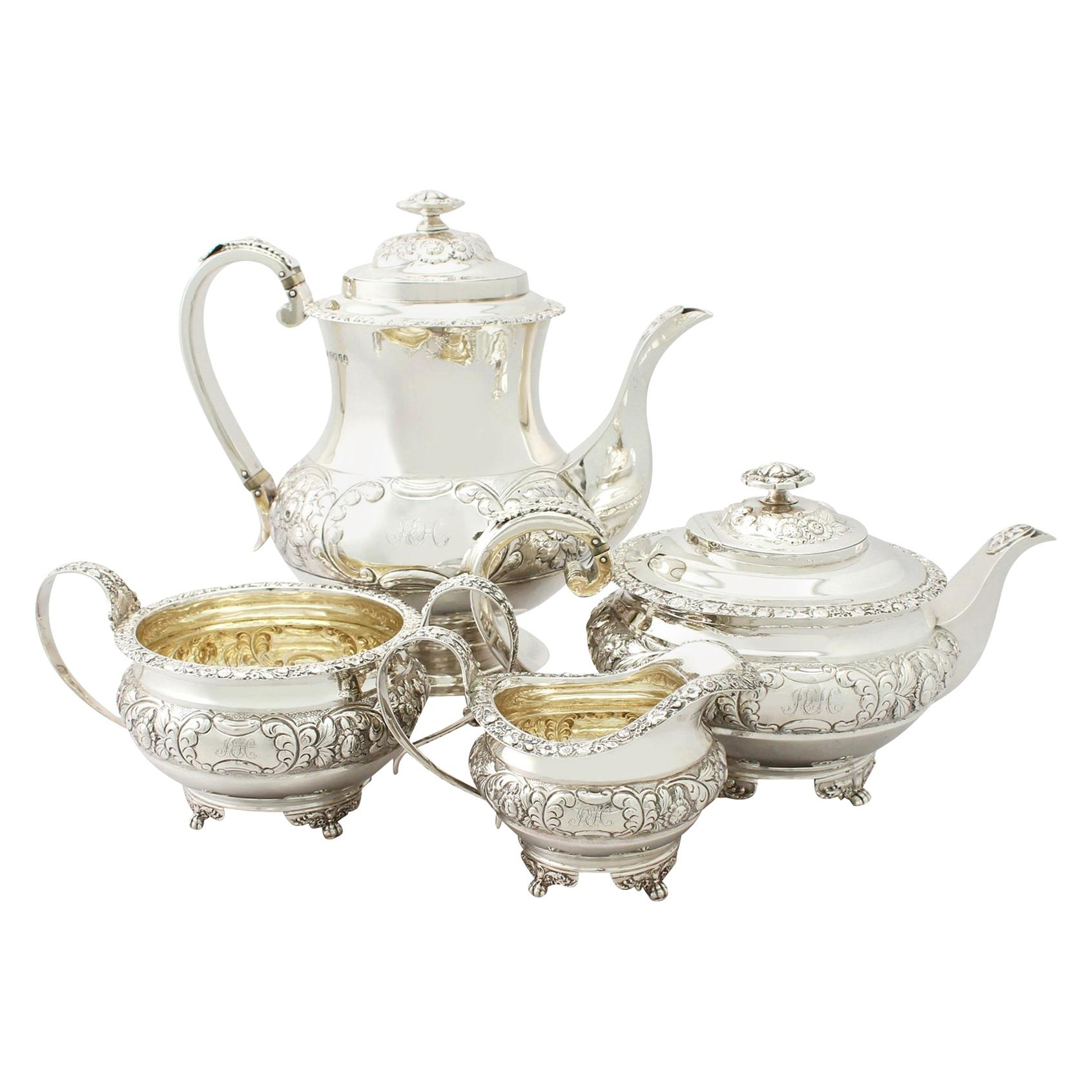 Antique Regency Style Sterling Silver Four-Piece Tea and Coffee Service