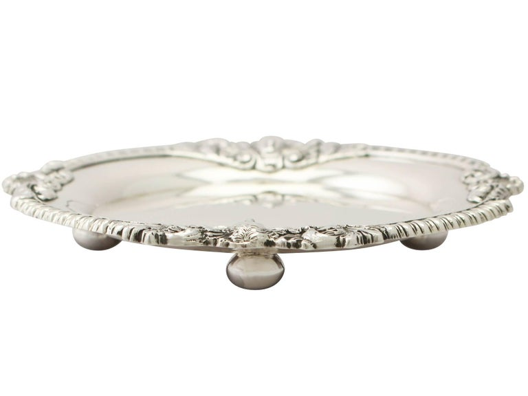 English Antique Regency Style Sterling Silver Waiter For Sale