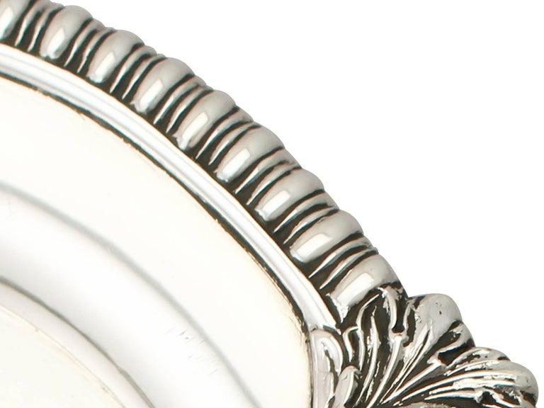 Antique Regency Style Sterling Silver Waiter For Sale 1