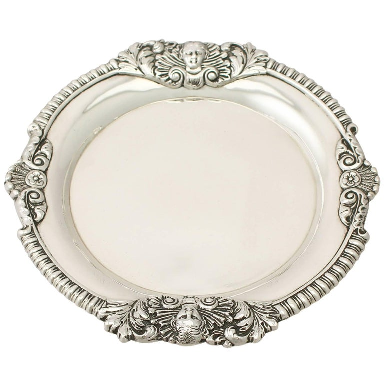 Antique Regency Style Sterling Silver Waiter For Sale
