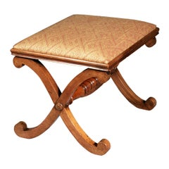 Antique Regency X-Frame Stool, after a Design by Thomas Hope