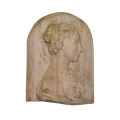 Antique Relief Bust, Italian, Female Masque, Neoclassical, Victorian, Circa 1900