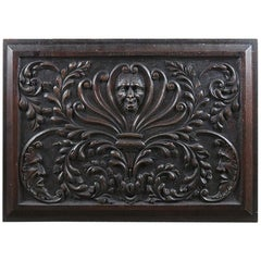 Antique Relief Carved Oak Panel, 20th Century