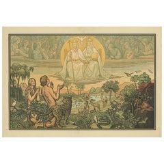 Antique Religion Print of Adam and Eve in Paradise, 1913