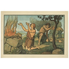 Antique Religion Print of Cain and Abel, 1913