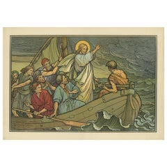 Antique Religion Print of Christ at the Sea of Galilee, 1913