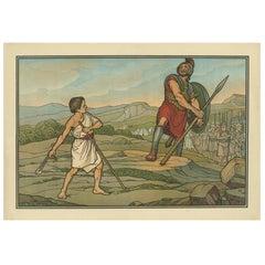 Antique Religion Print of David and Goliath, 1913