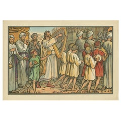 Antique Religion Print of David Dancing Before the Ark, 1913