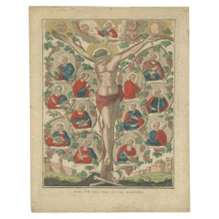 Antique Religion Print of John 15 the Vine and the Branches, 'circa 1800'