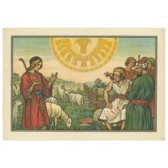 Antique Religion Print of Joseph's Dream, 1913