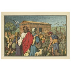 Antique Religion Print of Noah's Ark, 1913