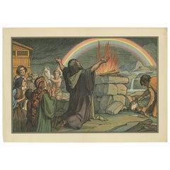 Antique Religion Print of Noah's Offering, 1913