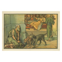 Antique Religion Print of Poor Lazarus, 1913