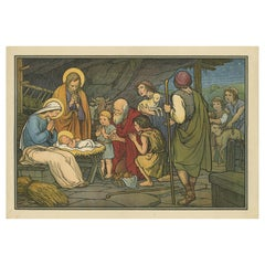 Antique Religion Print of the Adoration of the Shepherds '1913'