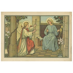 Antique Religion Print of the Annunciation of the Birth of Jesus '1913'