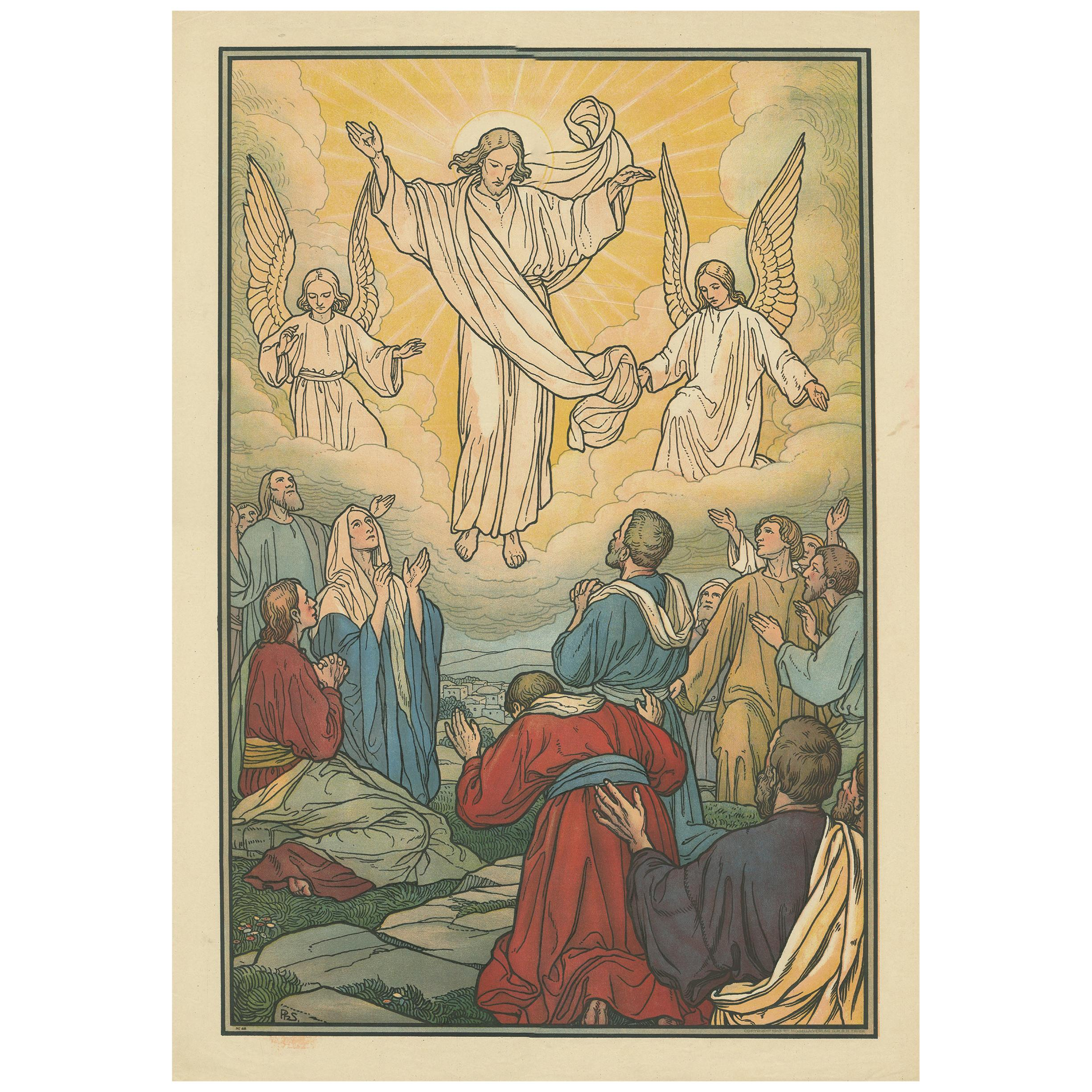 Antique Religion Print of the Ascension '1913'
