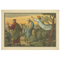 Antique Religion Print of the Flight into Egypt, 1913