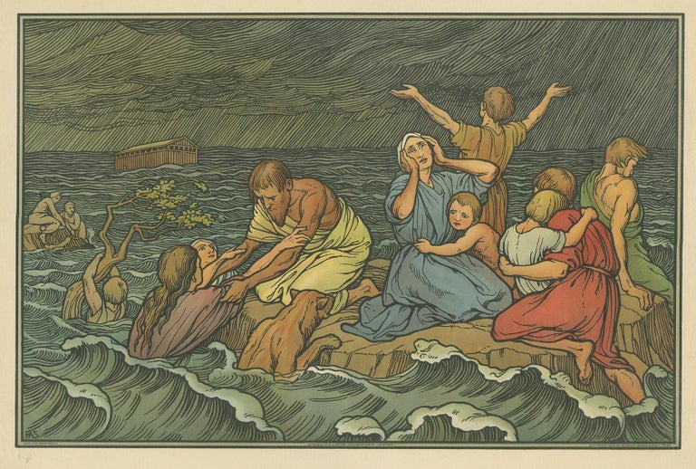 Large antique print of the Flood or Deluge. Published by Mosella-Verlag, 1913. This print originates from a series titled 'Kathol. Schulbibelwerk von Dr. Ecker'.