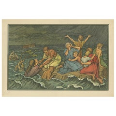 Antique Religion Print of the Flood or Deluge '1913'