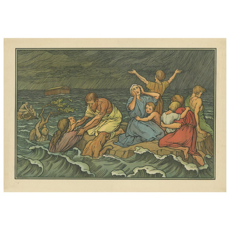 Antique Religion Print of the Flood or Deluge '1913' For Sale