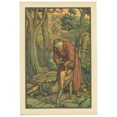 Antique Religion Print of the Good Samaritan, 1913