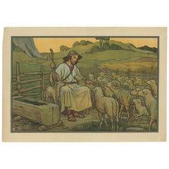 Antique Religion Print of the Good Shepherd, '1913'
