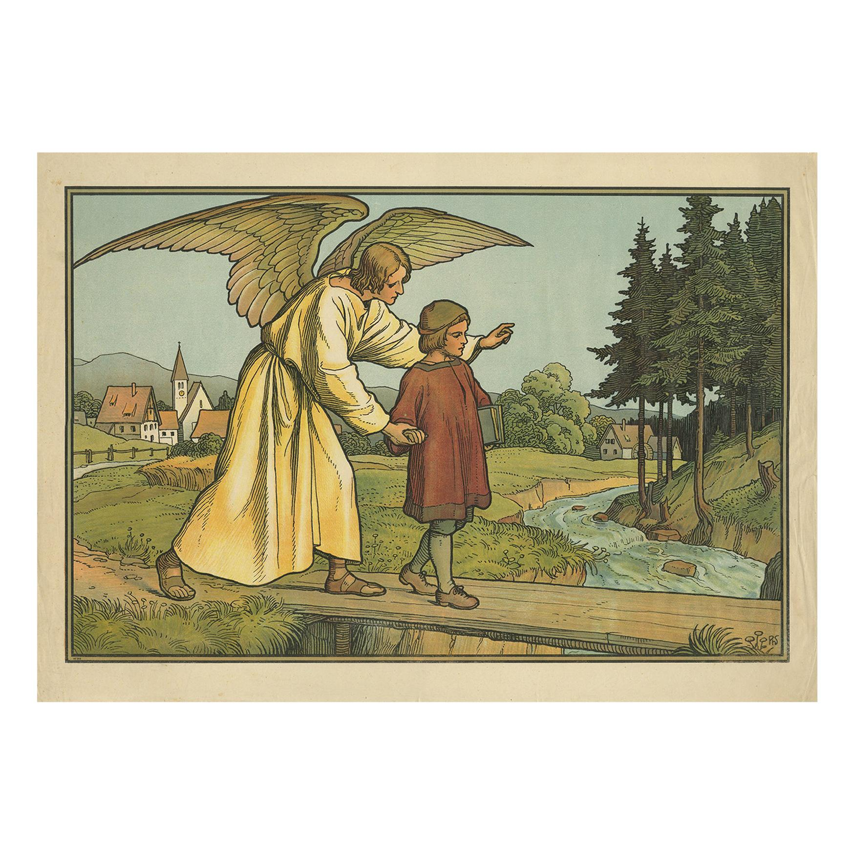 Antique Religion Print of the Guardian Angel '1913'