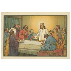 Antique Religion Print of the Last Supper, '1913'