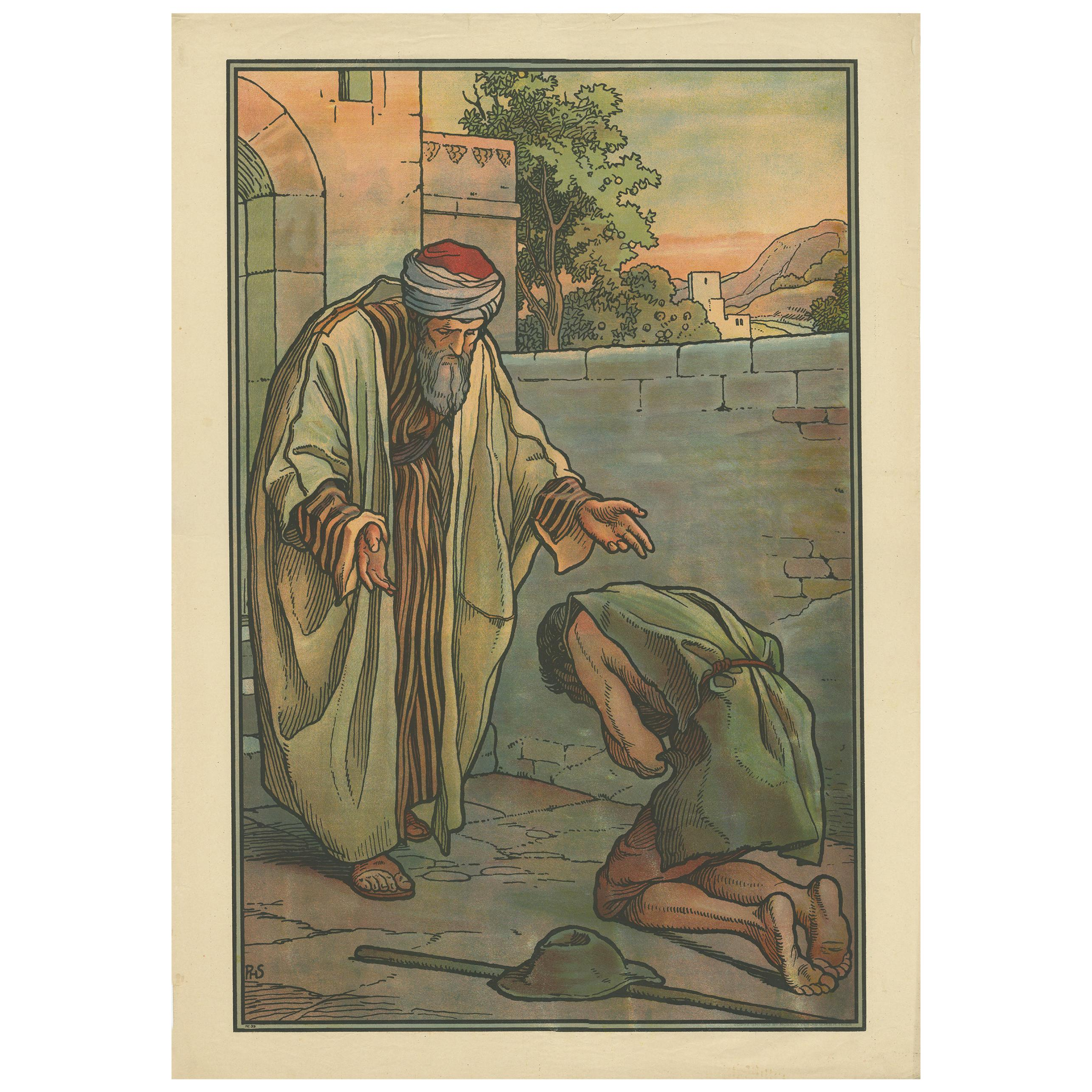 Antique Religion Print of the Parable of the Prodigal Son, 1913