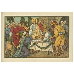 Antique Religion Print of the Raising of the Son of the Widow of Nain, 1913