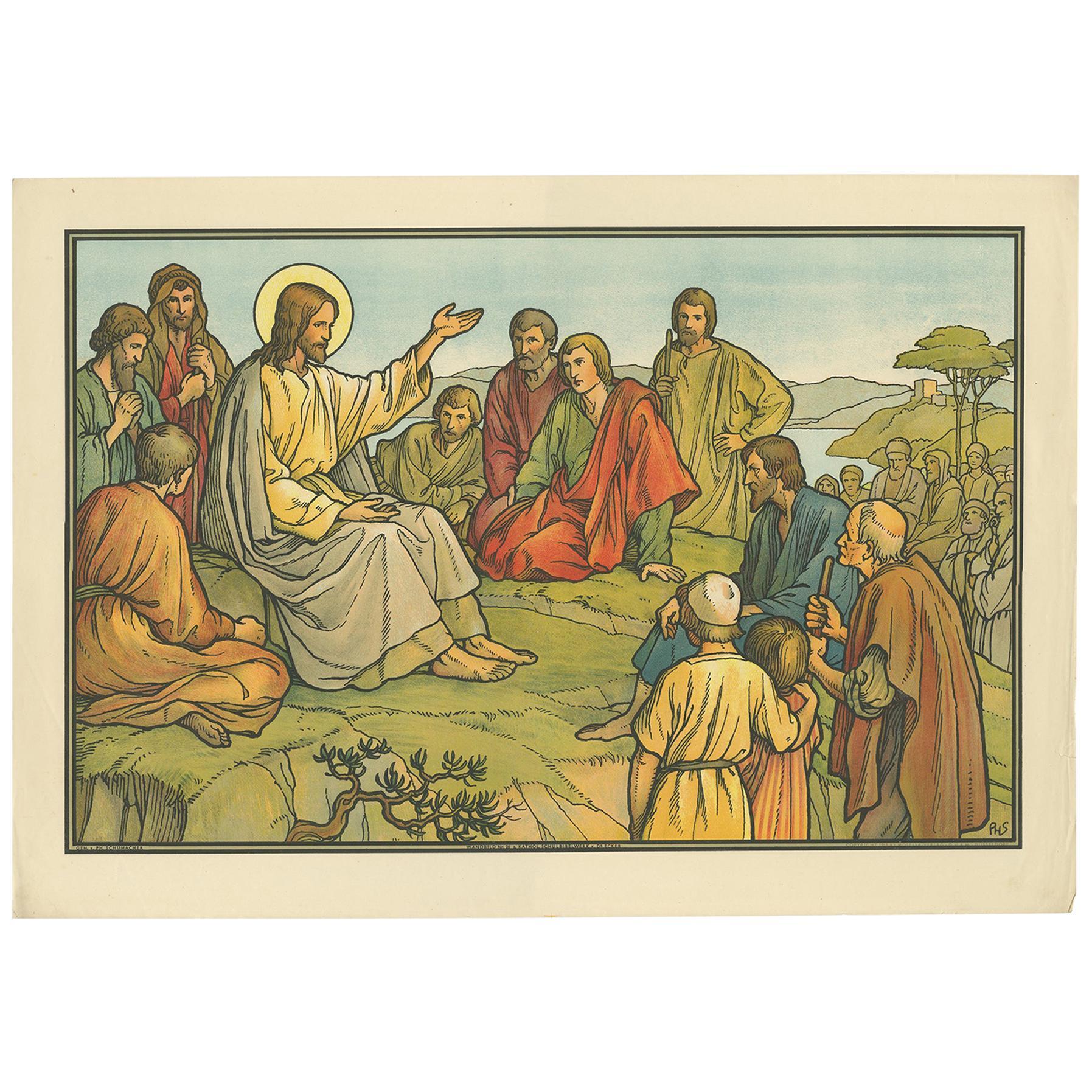 Antique Religion Print of the Sermon on the Mount, 1913