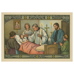 Antique Religion Print of the Seven Sacraments, Anointing of the Sick '1913'